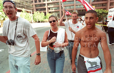 A group of protesters roam the streets of San Diego, California, during the Republican National Convention in 1996.
