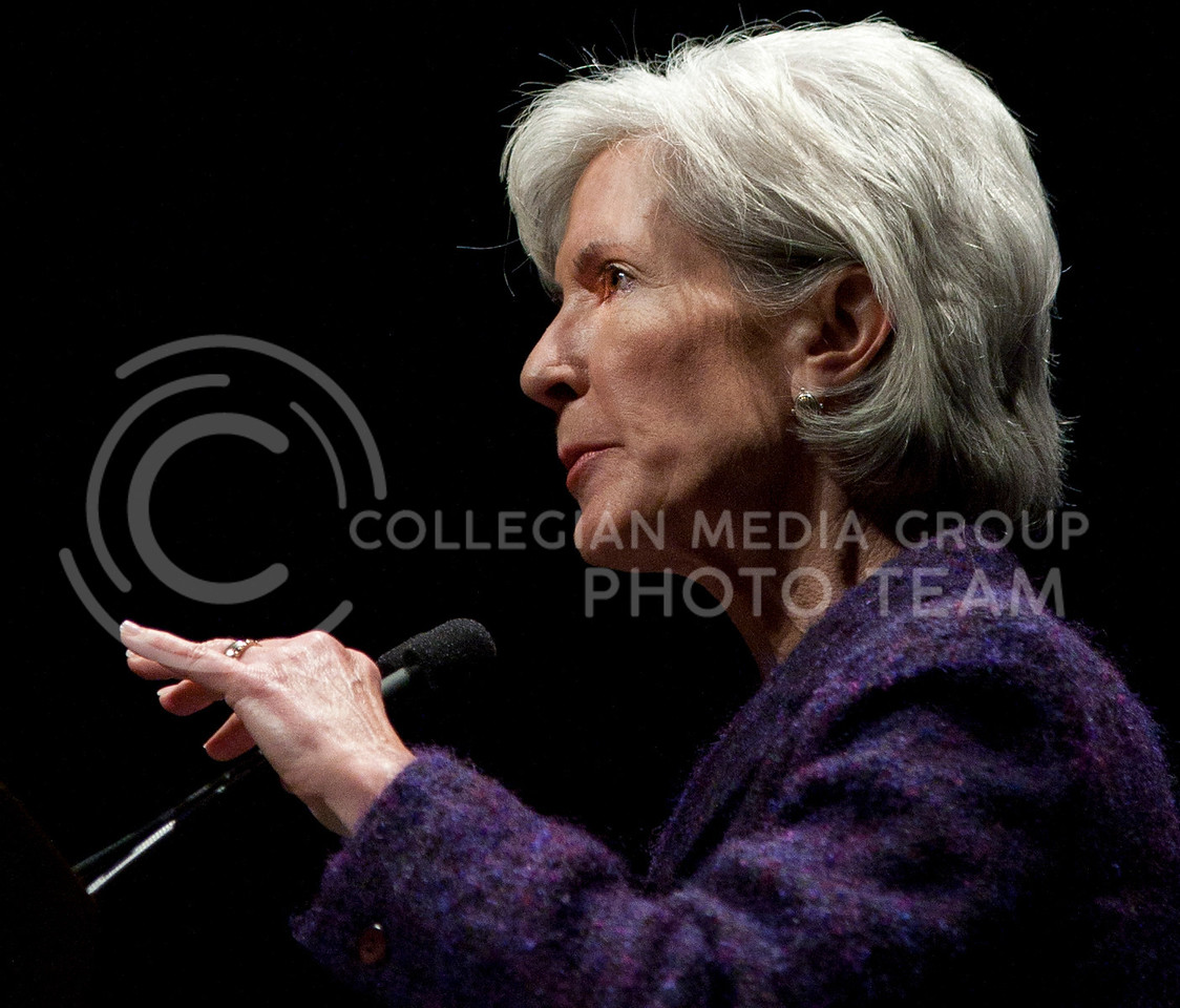 Kathleen Sebelius the United States Secretary of Health and Human Services and former governor of Kansas awaits her speech monday at McCain Auditorium  monday for the first Landon Lecture of the year. Secretary Sebelius spoke detailing her position and work as the Secretary of Health and Human Services and explain her 6-point analysis of the gains achieved by the recent health care reforms of the last two years that are trying to bring her office into the 21st century.