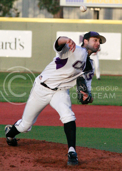 K-State starting pitcher Kayvon Bahramzadeh throws a pitch in the wildcat's win against Chicago State last Spring. Bahramzadeh allowed just five hits and three runs with seven strikeouts in six innings of work.