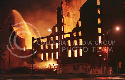 A five alarm fire burned on Fourth Street in downtown Detroit in the early morning of June 1, 1999.  The fire gutted and brought down much of the building. No injuries were reported. (photo/Jonathan Lurie)