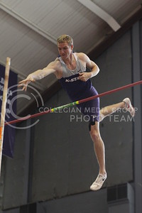 Senior in combined events, Moritz Cleve, releases his pole after he clears the bar in the men's pole vault at the Wildcats Invitational on Jan. 22 in Ahearn Field House.