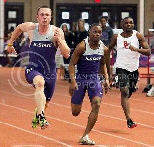 Junior heptathlete Martynas Jurgilas and Freshman sprinter J.J. Marshall race in the 60 meter dash on Saturday in Ahearn Fieldhouse. Jurgilas tied the school record in the 60 meter hurdle with a time of 7.80 seconds.