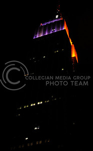 The Empire State Building was lit up in the colors of both Syracuse University and Kansas State University in the day or two leading up to the game. Two sides were lit for Syracuse and Two for Kansas State.
