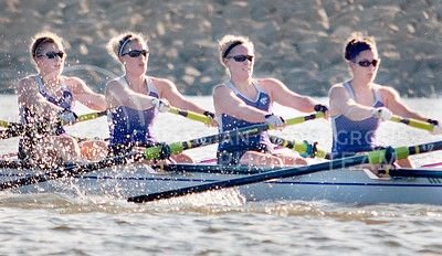 The K-State rowing 1st Varsity 8 boat races Oct. 23 at Tuttle Creek Reservoir against KU.
