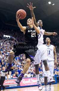 Former K-State guard Denis Clemente goes up for a shot during last year's basketball game against KU. The K-State Proud campaign will be speaking during tonight's game in Bramlage Coliseum.