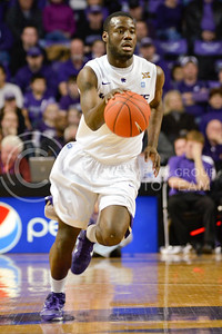 Sophomore guard Juevol Myles moves the ball against Colorado January 12 in Bramlage Coliseum.