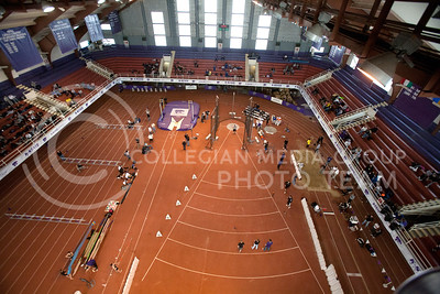 The track of Ahearn Fieldhouse as seen from the rafters during Saturday's Wildcat Invitational trackmeet.