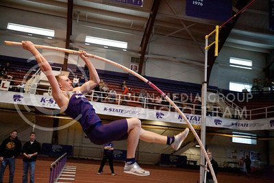 Cameron Savage launches himself on his pole vault competition at the Wildcat invitational. Savage won the competition attainting a high of 5.05 m.