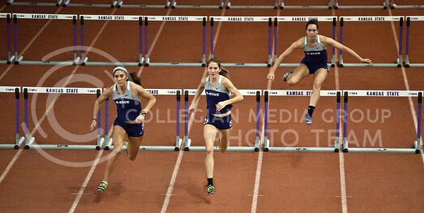 Sarah Colmer, Julia Zeiner, and Josyln Barnes ran the 60 meter hurdles at the 2012 Wildcat Invitation Track Meet Saturday January 21, 2012.
