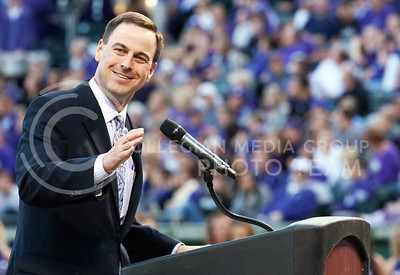 K-State athletic director John Currie smiles inside Rangers Ballpark in Arlington, TX after he announces the expansion project of Bill Snyder Family Stadium during the K-State pep rally the night before the Cotton Bowl.