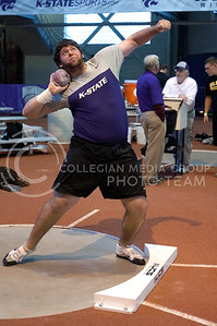 Ryan Hershberger throws the shot put for Kansas State at Saturday's Wildcat Invitational in Ahearn Field House January 21, 2012.