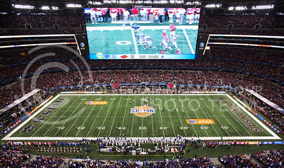 The 2012 Cotton Bowl kicks off inside Cowboys Stadium on January 6 in front of nearly 81,000 screaming fans. The bowl game featured the Kansas State Wildcats from the Big 12 conference, and the Arkansas Razorbacks from the SEC.