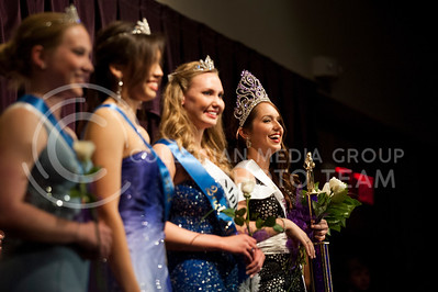 (photo by Hannah Hunsinger | Collegian) (from left) Kristen Eck, of the K-State Marching Band, first runner-up, Yessika Prato, of HALO, third runner-up, Lauren Dunkak, of Alpha of Clovia, second runner-up, and Kaitlyn Dewell, of Gamma Phi Beta, winner, pose for photos at Delta Upsilon's Miss K-State competition on Tuesday, April 23, 2013 in the Union Ballroom.