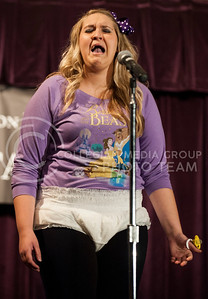 (photo by Hannah Hunsinger | Collegian)  Ginger Wilson, of Alpha Delta Pi, performs her signature 'baby cry' as her talent in the Delta Upsilon Miss K-State Compeition on April 23, in the KSU Ballroom in the Union.