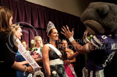 (photo by Hannah Hunsinger | Collegian) Kaitlyn Dewell, of Gamma Phi Beta is crowned Miss K-State by Willie the Wildcat at the Delta Upsilon Miss K-State Compeition on April 23, in the KSU Ballroom in the Union.