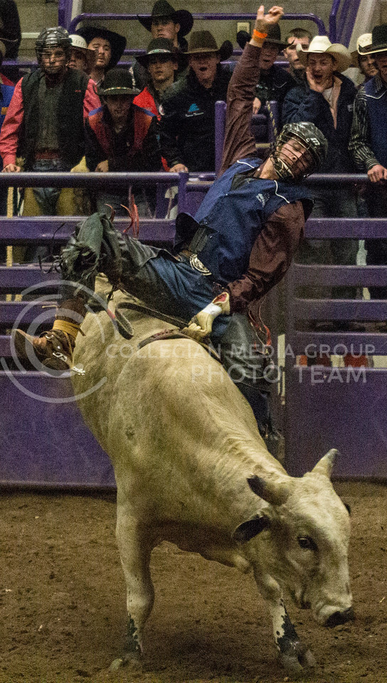 Lane Wilhelm, junior at Southwestern Oklahoma State University, competes in the Bull Riding portion of the 57th Annual Kansas State University Rodeo held on February 22nd in Weber Arena. [Jacob Dean Wilson | Collegian]