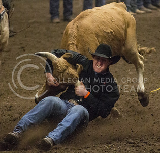 Jess Woodward, junior at Northwestern Oklahoma State University, competes in the Steer Wrestling portion of the 57th Annual Kansas State University Rodeo held on February 22nd in Weber Arena. [Jacob Dean Wilson | Collegian]