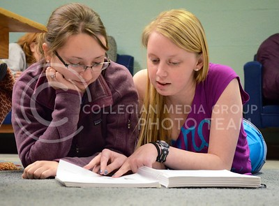 (Photo by Parker Robb   Collegian)  Mckayla Brubaker, sophomore in agricultural communications and journalism, left, and Ashley Stewart, sophomore in agronomy, study plant science together in Clovia's study room April 15, 2013.