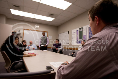 Ethan Kraus, junior studying sociology, asks a question during Adrian Esquilin's meeting at the end of the day before being released.  (Photo by Evert Nelson | Collegian)