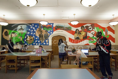 "Students work on various materials in the ""We Are The Dream"" room of Hale Library Thursday. The room, located on the 4th floor of Hale Library, is only accessible to use if you are a student athlete.  (Photo by Evert Nelson 