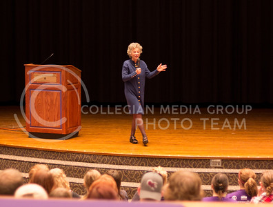 Russell Edem   Collegian Stephanie Coontz Spoke to a large group of people in Forum Hall in the K-State Student Union Friday Morning.  Picture taken May 3, 2013
