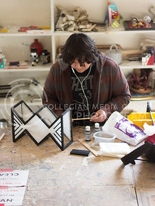 Photo by Russell Edem | Collegian Manuel Hernandez, Freshman Open Option works on his final project for Art 3D in Willard Hall on May 2, 2013. Picture taken May 2, 2013