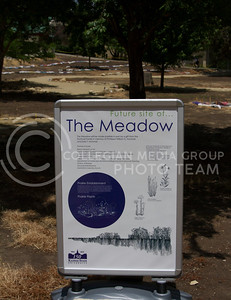 Russell Edem | Collegian This is the future site of The Meadow, just past the Beach museum arch. This will be the site of 20 species of native Kansas grasses and wild flowers.