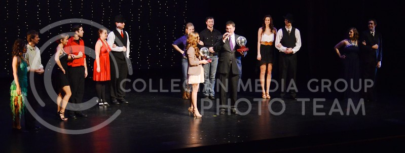 (Photo by Parker Robb | Collegian)  Contestants of Dancing with the K-State Stars assemble on stage and prepare for the revelation of the winners and the presentation of the trophies Monday night in McCain Auditorium.