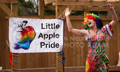 (Photo by Hannah Hunsinger | Collegian)  Starla Nyt performs as part of the festivities of the Little Apple Pride Parade in Triangle Park in Aggieville on Saturday, April 20, 2013.
