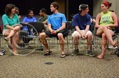 (Photo by Parker Robb | Collegian)  K-State students and attendees of Theater Delta's performance discuss symptoms of depression in small groups following the the troupe's interactive performance on depression April 29, 2013, in the Little Theater in the K-State Student Union. Theater Delta is a nationally-recognized interactive theater group that encourages social change through their interactive performances.