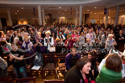 A very large crowd filling the Grand Ballroom as well as extending into the Flint Hills room of the Student Union join Cadence after the Greeks Got Talent performances Wednesday night.  (Photo by Evert Nelson | Collegian)