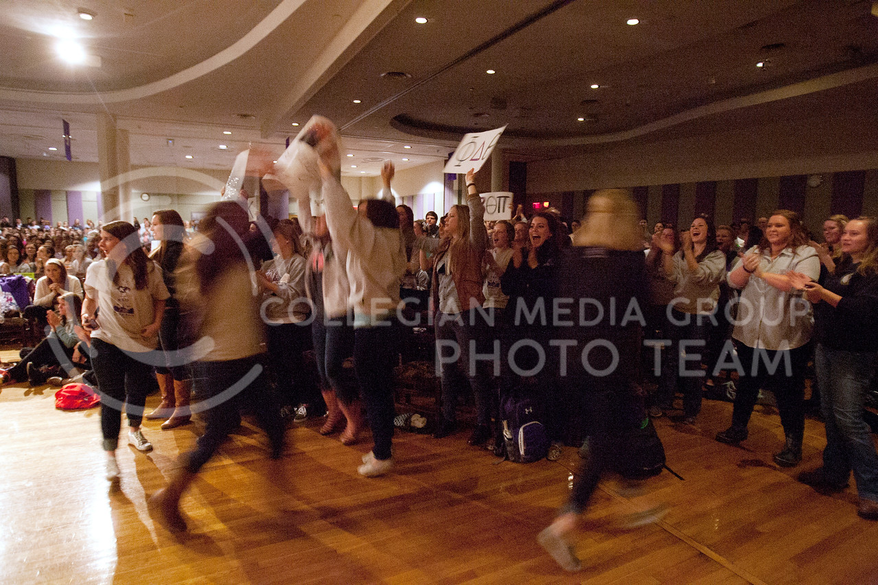 "Members of sororities and fraturities making up ""Light Grey"" teams who participated in Greeks Got Talent competition in the Grand Ballroom of the Student Union Wednesday April 10, 2013.<br /> <br /> (Photo by Evert Nelson 