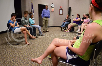 (Photo by Parker Robb | Collegian)  Members of the Theater Delta, acting as though they have serious depression, answer questions from the audience about their conditions during the troupe's interactive performance on depression April 29, 2013, in the Little Theater in the K-State Student Union. Theater Delta is a nationally-recognized interactive theater group that encourages social change through their interactive performances.