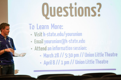 Brett Seidl, junior studying public relations, presents with Chealsea Gerber, junior in public relations, to patrons who showed up to the open forum. Seidl and Gerber are Co-Campaign chairs for the union project and presented in Little Theater Thursday evening.  (Photo by Evert Nelson   Collegian)
