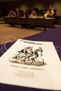 (Photo by Hannah Hunsinger   Collegian)  K-State students and community members met in the Big 12 Room in the K-State Student Union to discuss changes to bicycling regulations and problems on campus on Thursday, April 18, 2013.