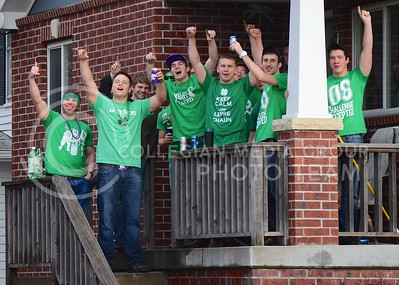(Photo by Parker Robb | Collegian)  Fake Patty's Day revelers display their Fake Patty's Day spirit March 9 at a house party on 14th St.