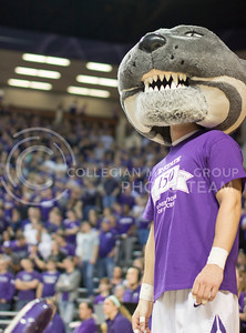 (Photo by Kate Hagans | Collegian) Kansas State mascot, Willie the wildcat, celebrates Kansas State's 150 birthday during the game against Baylor on Feb 16 in Bramlage Coliseum.