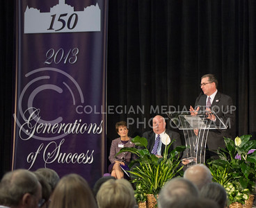 (Photo by Kate Hagans | Collegian) President Kirk Schulz, speaks at the kick off celebration for Kansas State's 150 Birthday. Schulz has been Kansas State's president for 13 years now.