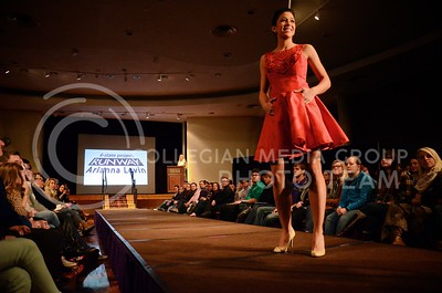 (Photo by Parker Robb | Collegian)  A K-State student model displays the dress designed by Arianna Levin, sophomore in apparel and textile design, as she walks down the runway at K-State Project Runway, Season Four, held February 15 at the K-State Student Union. Student fashion designers participating in the show were challenged to create their own designs out of a vintage wedding dress.