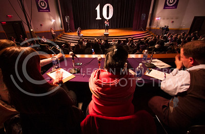 Judges sit toward the back of Forum Hall Monday night to listen to K-State Idol contestants compete on stage.  (Photo by Evert Nelson/Collegian)