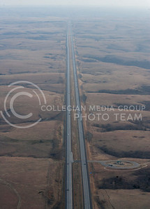 Coach Bill Snyder Highway, also known as I-177, divides the Flint Hills of Kansas while making a route into Manhattan coming from the South.  (Photo by Evert Nelson/Collegian)