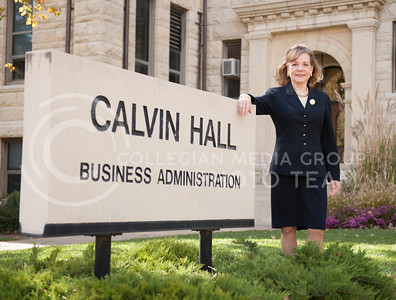 Donita Whitney-Bammerlin, instructor in management, stands outside of Cartwell Hall where her office is located. Donita received a 5.0 rating on a popular teacher rating website, ratemyprofessor.com.