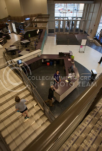 The new South enterance to the Rec Center features a welcome desk, rock wall, and a small cafe for refreshments.   (Photo by Evert Nelson / Collegian)