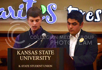 (Photo by Parker Robb | Collegian)  Student Body President candidate Kyle Nuss explains the strengths of his campaign with running mate Ariel Mendiola during the candidate strengths February 28 in the K-State Student Union. The general election for Student Body President and Vice President took place March 5-6.