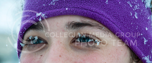 (Photo by Hannah Hunsinger | Collegian)  Snow flakes gathered on the eyelashes of Danielle Stierman, freshman in animal science and production managment, while she played in the snow in front of Goodnow Hall on Thursday, Feb. 21, 2013.