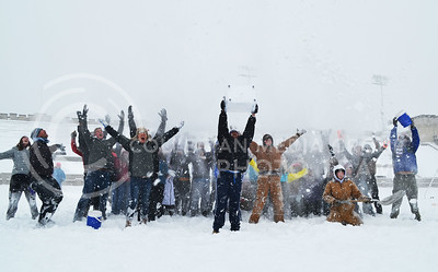 A snowball fight was held at Old Stadium yesterday when all of campus closed due to the snow storm. Students celebrated the day off in the middle of the week by pelting eachother with powdery snow.