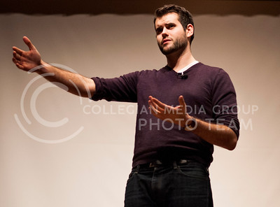 (Photo by Hannah Hunsinger | Collegian)  Zach Wahls, speaks about what makes a marriage and his personal experience coming from a family with two moms, in Forum Hall on Tuesday night, March 4, 2013.  Wahls has become well known since a youtube video of him speaking to the Iowa House Judiciary Committee in defense of gay marriage, and gay couples with kids went viral. he has been featured on many national news stations, spoke at the Democratic national convention, and published a book on the same topic.