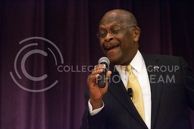 After answering questions from the audience, past republican candidate Herman Cain sang a version of Amazing Grace to those in attendence. The event Cain was speaking at was sponsered by Young Americans and was held in the Grand Ballroom of the Union at 7 p.m. Tuesday night.  (Photo by Evert Nelson/Collegian)