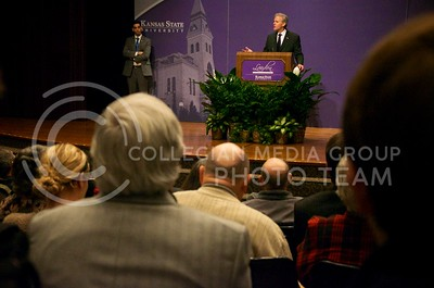 (Photo by Parker Robb | Collegian)  Israeli Ambassador to the U.S. Michael Oren discusses the historical and ongoing relations between the United States and Israel during the 162nd annual Landon Lecture Tuesday morning in Forum Hall in the K-State Student Union. Manhattan residents and K-State students packed Forum Hall for the opportunity to hear the dignitary speak.