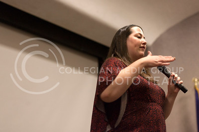 Christina Rock talks about her life living being HIV positive to those in attendance at her HIV Like Me event in Little Theater of the Union Thursday night.  (Photo by Evert Nelson/Collegian)